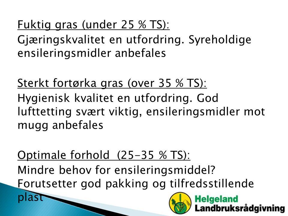 Fuktig gras (under 25 % TS): Gjæringskvalitet en utfordring. Syreholdige ensileringsmidler anbefales Sterkt fortørka gras (over 35 % TS): Hygienisk kv