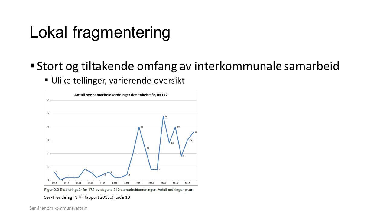  Stort og tiltakende omfang av interkommunale samarbeid  Ulike tellinger, varierende oversikt Seminar om kommunereform Sør-Trøndelag, NIVI Rapport 2