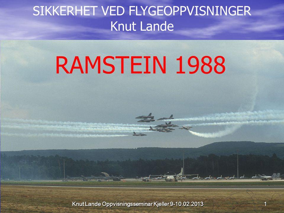SIKKERHET VED FLYGEOPPVISNINGER Knut Lande RAMSTEIN 1988 1 Knut Lande Oppvisningsseminar Kjeller 9-10.02.2013
