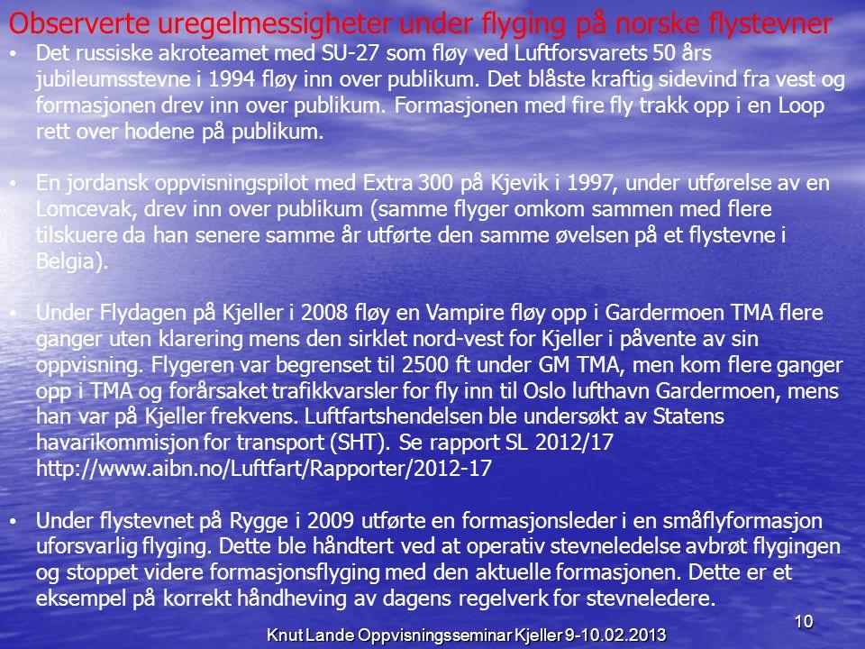 10 Knut Lande Oppvisningsseminar Kjeller 9-10.02.2013 Observerte uregelmessigheter under flyging på norske flystevner • Det russiske akroteamet med SU