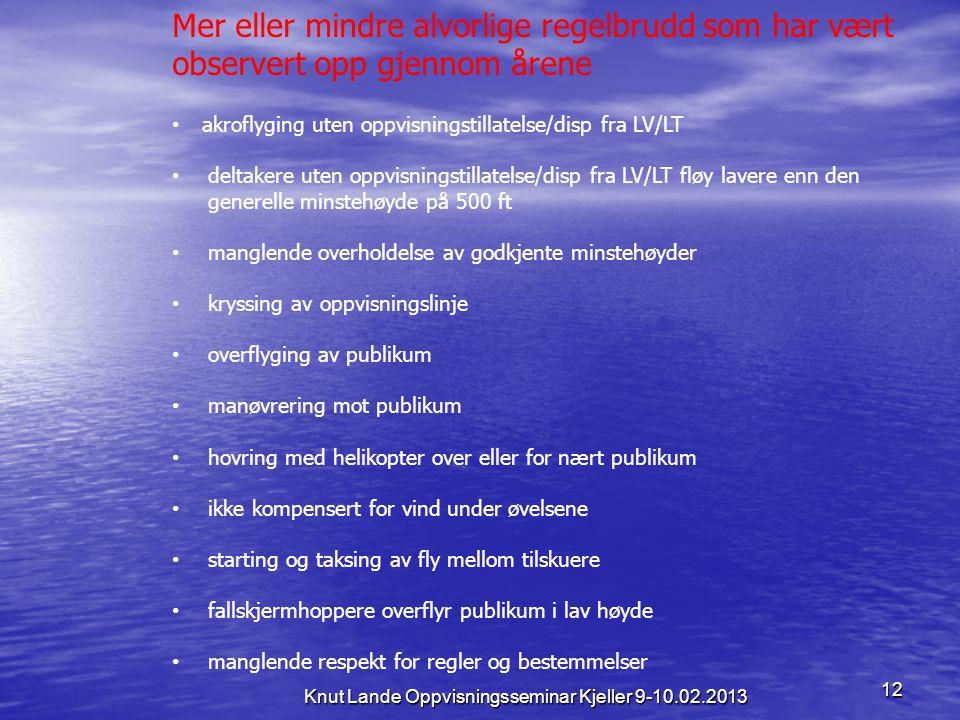 12 Knut Lande Oppvisningsseminar Kjeller 9-10.02.2013 Mer eller mindre alvorlige regelbrudd som har vært observert opp gjennom årene • akroflyging ute