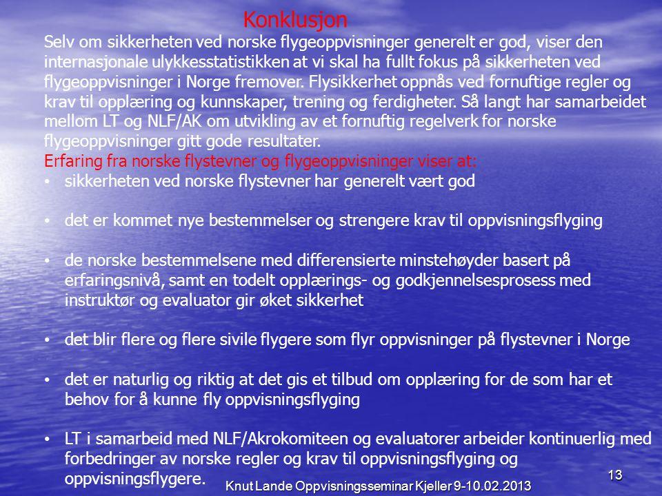 13 Knut Lande Oppvisningsseminar Kjeller 9-10.02.2013 Konklusjon Selv om sikkerheten ved norske flygeoppvisninger generelt er god, viser den internasj