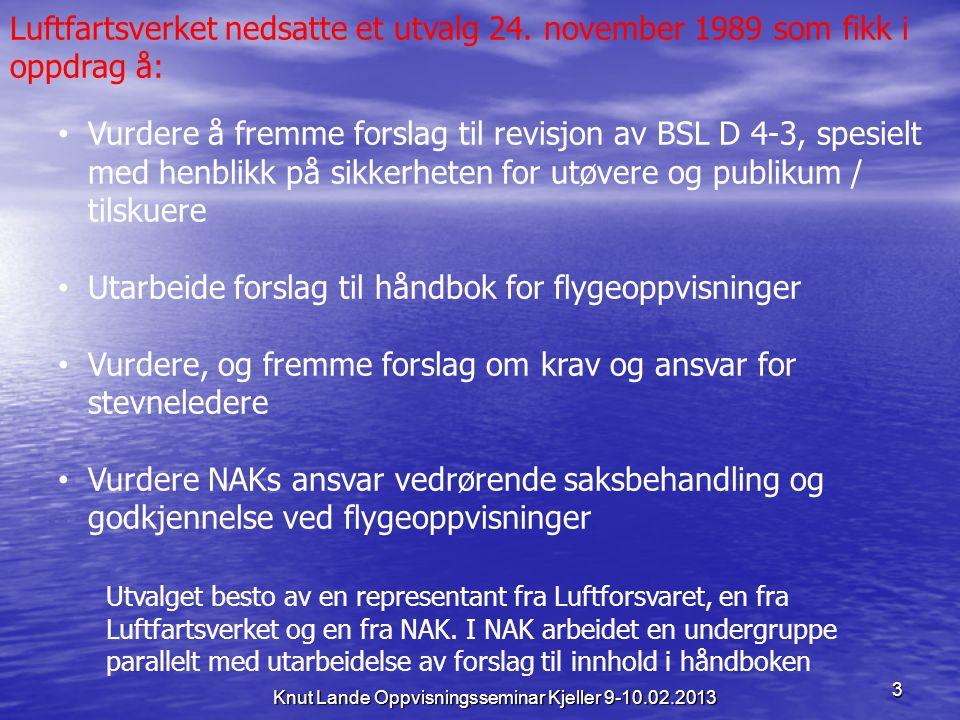 3 Luftfartsverket nedsatte et utvalg 24. november 1989 som fikk i oppdrag å: • Vurdere å fremme forslag til revisjon av BSL D 4-3, spesielt med henbli