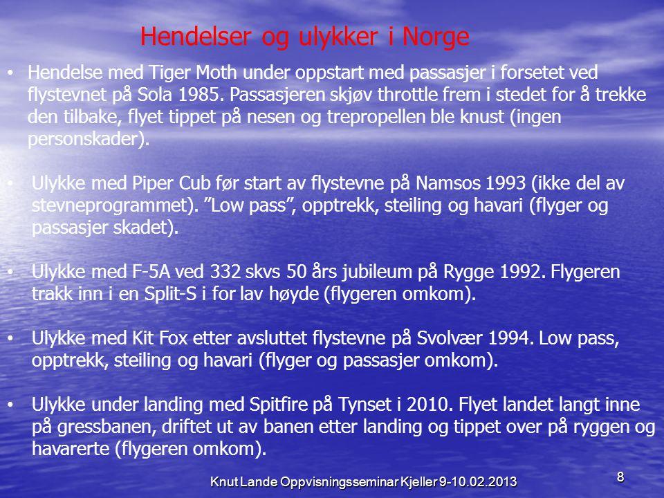 8 Knut Lande Oppvisningsseminar Kjeller 9-10.02.2013 Hendelser og ulykker i Norge • Hendelse med Tiger Moth under oppstart med passasjer i forsetet ve
