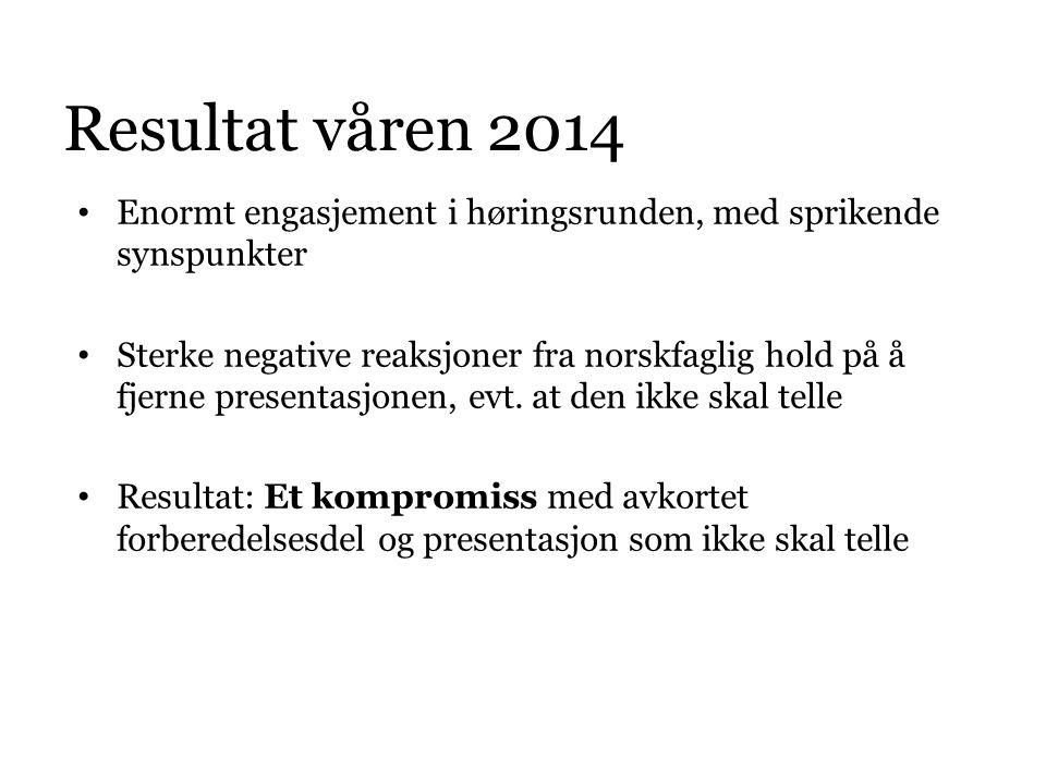 Resultat våren 2014 • Enormt engasjement i høringsrunden, med sprikende synspunkter • Sterke negative reaksjoner fra norskfaglig hold på å fjerne pres