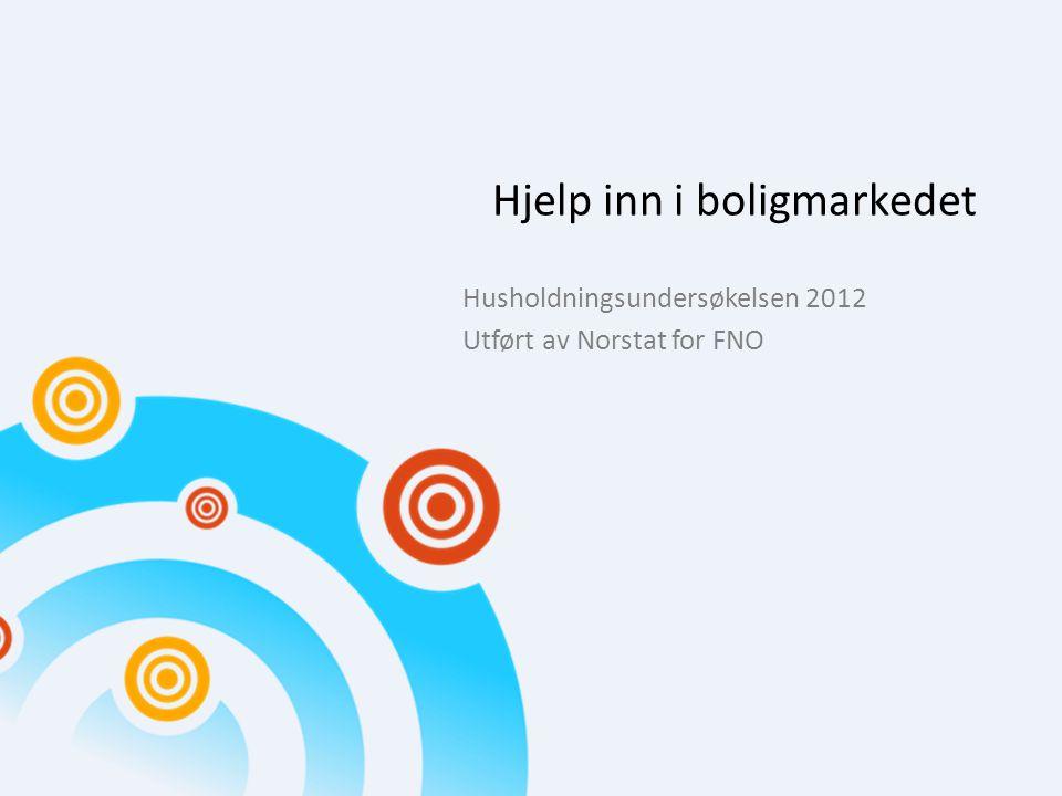 Hjelp inn i boligmarkedet Husholdningsundersøkelsen 2012 Utført av Norstat for FNO