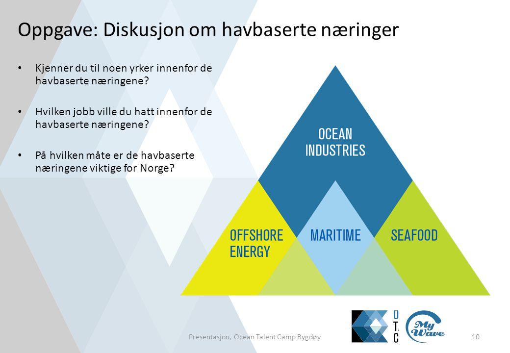 Oppgave: Diskusjon om havbaserte næringer • Kjenner du til noen yrker innenfor de havbaserte næringene? • Hvilken jobb ville du hatt innenfor de havba