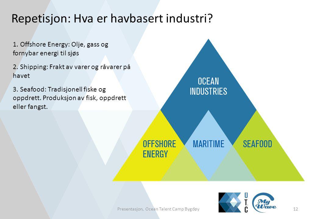 Repetisjon: Hva er havbasert industri? Presentasjon, Ocean Talent Camp Bygdøy12 1. Offshore Energy: Olje, gass og fornybar energi til sjøs 2. Shipping