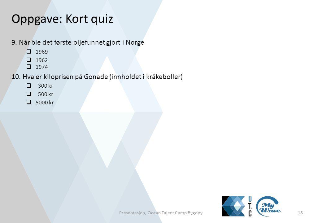 9. Når ble det første oljefunnet gjort i Norge  1969  1962  1974 10. Hva er kiloprisen på Gonade (innholdet i kråkeboller)  300 kr  500 kr  5000