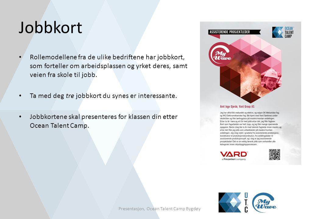 Jobbkort • Rollemodellene fra de ulike bedriftene har jobbkort, som forteller om arbeidsplassen og yrket deres, samt veien fra skole til jobb. • Ta me