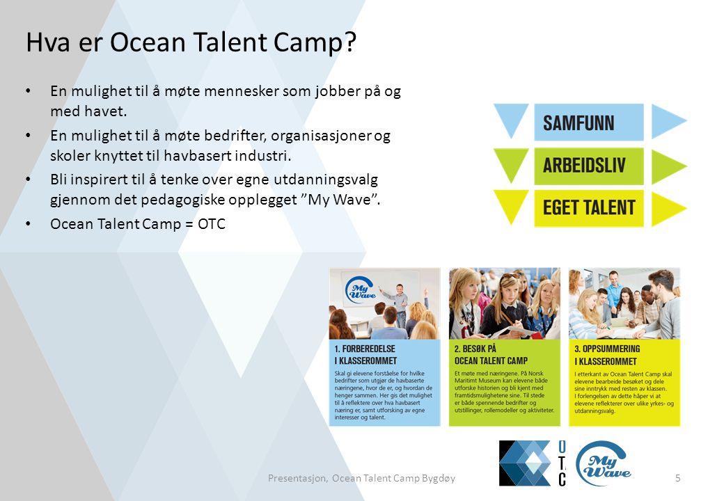 Hva er Ocean Talent Camp? • En mulighet til å møte mennesker som jobber på og med havet. • En mulighet til å møte bedrifter, organisasjoner og skoler