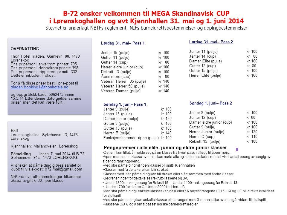 B-72 ønsker velkommen til MEGA Skandinavisk CUP i Lørenskoghallen og evt Kjennhallen 31.
