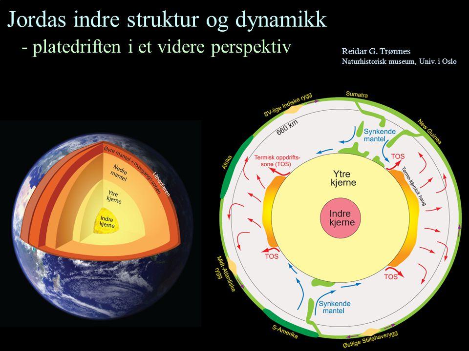 Lithosfæren (jordplatene) - 80-200 km tykt skall (gj.snitt: 100 km) - inneholder jordskorpe (7-40 km tykk) og den øvre, stive delen av mantelen Asthenosfæren - diffus sone under lithosfæren - omtrent på 100 – 350 km dyp - lav viskositet Viskositetsprofil, log 10 (Pa s) Steinberger & Calderwood (2006) Dyp, km Mantel-kjerne-overgangen Asthenosfæren Lithosfæren