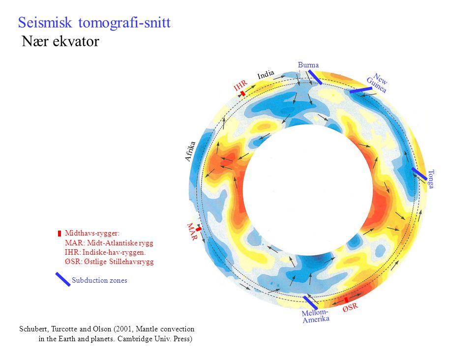 Seismisk tomografi-snitt Nær ekvator Mellom- Amerika ØSR Burma New Guinea MAR IHR Tonga Afrika India Midthavs-rygger: MAR: Midt-Atlantiske rygg IHR: I