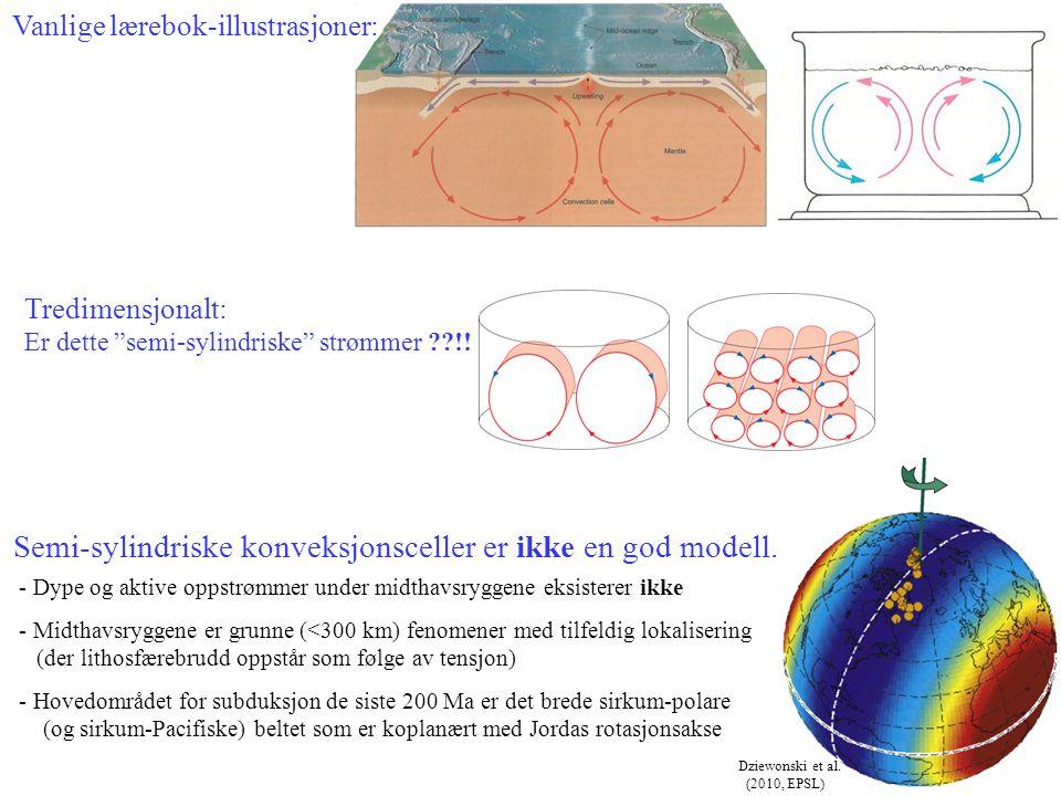 """Tredimensjonalt: Er dette """"semi-sylindriske"""" strømmer ??!! Vanlige lærebok-illustrasjoner: Dziewonski et al. (2010, EPSL) Semi-sylindriske konveksjons"""
