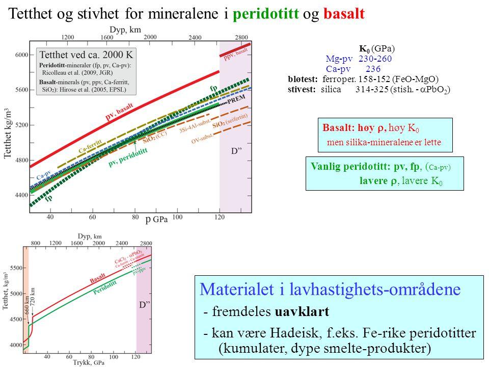 Tetthet og stivhet for mineralene i peridotitt og basalt K 0 (GPa) Mg-pv 230-260 Ca-pv 236 bløtest: ferroper. 158-152 (FeO-MgO) stivest: silica 314-32
