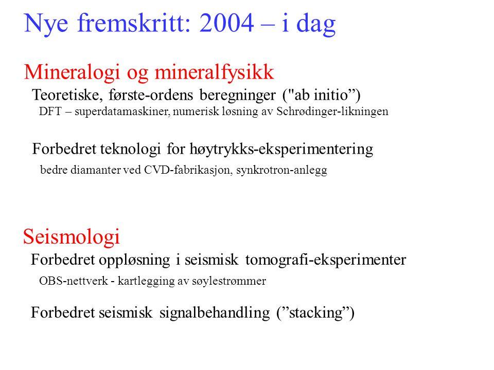 Nye fremskritt: 2004 – i dag Mineralogi og mineralfysikk Teoretiske, første-ordens beregninger (