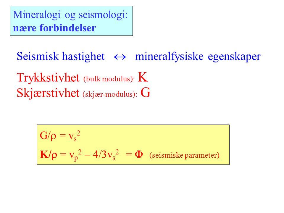 G/  = v s 2 K/  = v p 2 – 4/3v s 2 =  (seismiske parameter) Seismisk hastighet  mineralfysiske egenskaper Trykkstivhet (bulk modulus): K Skjærs