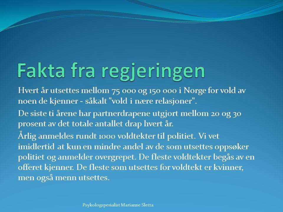 Hvert år utsettes mellom 75 000 og 150 000 i Norge for vold av noen de kjenner - såkalt