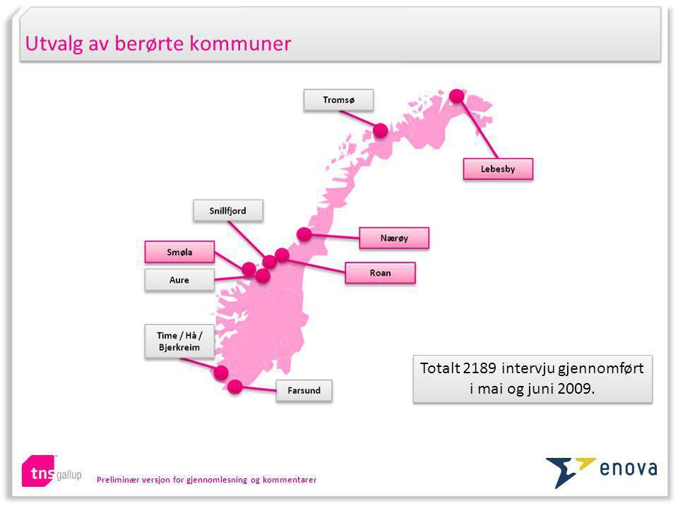 Preliminær versjon for gjennomlesning og kommentarer Utvalg av berørte kommuner Totalt 2189 intervju gjennomført i mai og juni 2009.