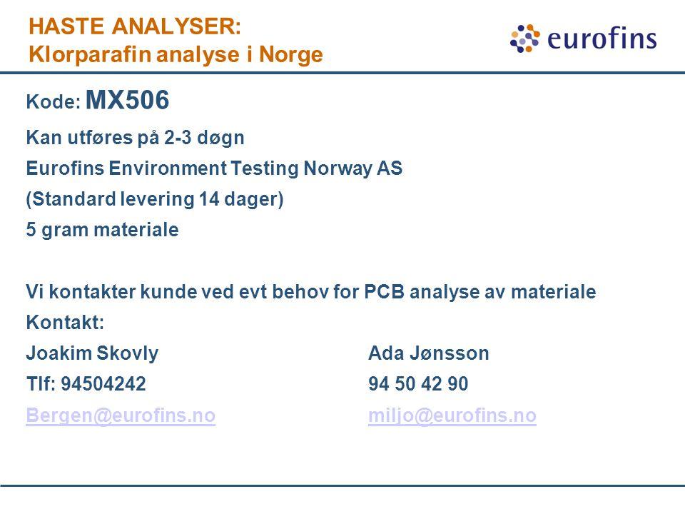 HASTE ANALYSER: Klorparafin analyse i Norge Kode: MX506 Kan utføres på 2-3 døgn Eurofins Environment Testing Norway AS (Standard levering 14 dager) 5 gram materiale Vi kontakter kunde ved evt behov for PCB analyse av materiale Kontakt: Joakim SkovlyAda Jønsson Tlf: 9450424294 50 42 90 Bergen@eurofins.nomiljo@eurofins.no