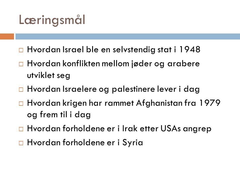 Midtøsten: konflikten mellom Israel og Palestina  Etter andre verdenskrig var sympatien for jødene enormt stor, om lag 6 millioner var blitt drept av nazistene  Enighet blant seierslandene om at jødene skulle få sin egen stat der de kunne være trygge  Og uten tvil, denne staten skulle ligge i Palestina – der jødene en gang kom fra  Under krigen hadde flere tusen jøder allerede flyktet til Palestina, og nå kom mange flere som drømte om å slå seg ned der.
