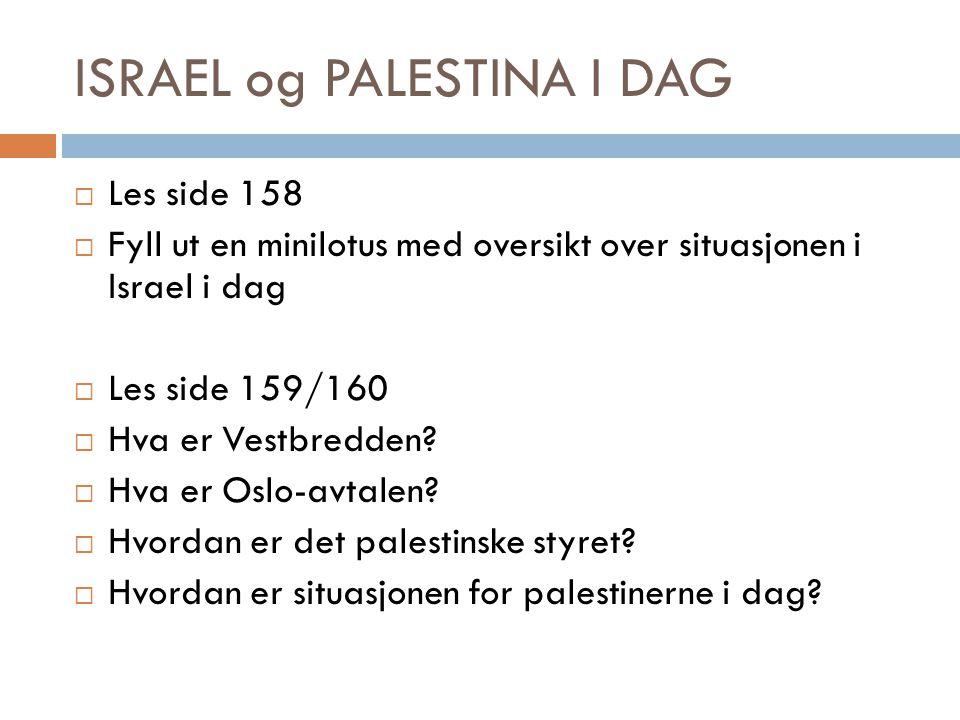 ISRAEL og PALESTINA I DAG  Les side 158  Fyll ut en minilotus med oversikt over situasjonen i Israel i dag  Les side 159/160  Hva er Vestbredden?