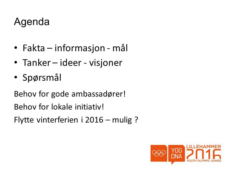 Agenda • Fakta – informasjon - mål • Tanker – ideer - visjoner • Spørsmål Behov for gode ambassadører.