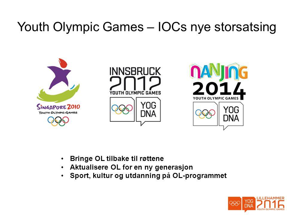 Youth Olympic Games – IOCs nye storsatsing •Bringe OL tilbake til røttene •Aktualisere OL for en ny generasjon •Sport, kultur og utdanning på OL-programmet