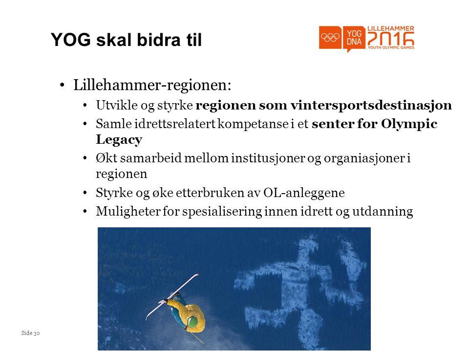 Side 30 YOG skal bidra til • Lillehammer-regionen: • Utvikle og styrke regionen som vintersportsdestinasjon • Samle idrettsrelatert kompetanse i et senter for Olympic Legacy • Økt samarbeid mellom institusjoner og organiasjoner i regionen • Styrke og øke etterbruken av OL-anleggene • Muligheter for spesialisering innen idrett og utdanning