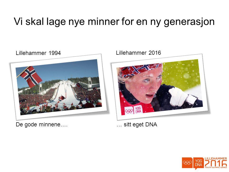 Vi skal lage nye minner for en ny generasjon Lillehammer 1994 De gode minnene….