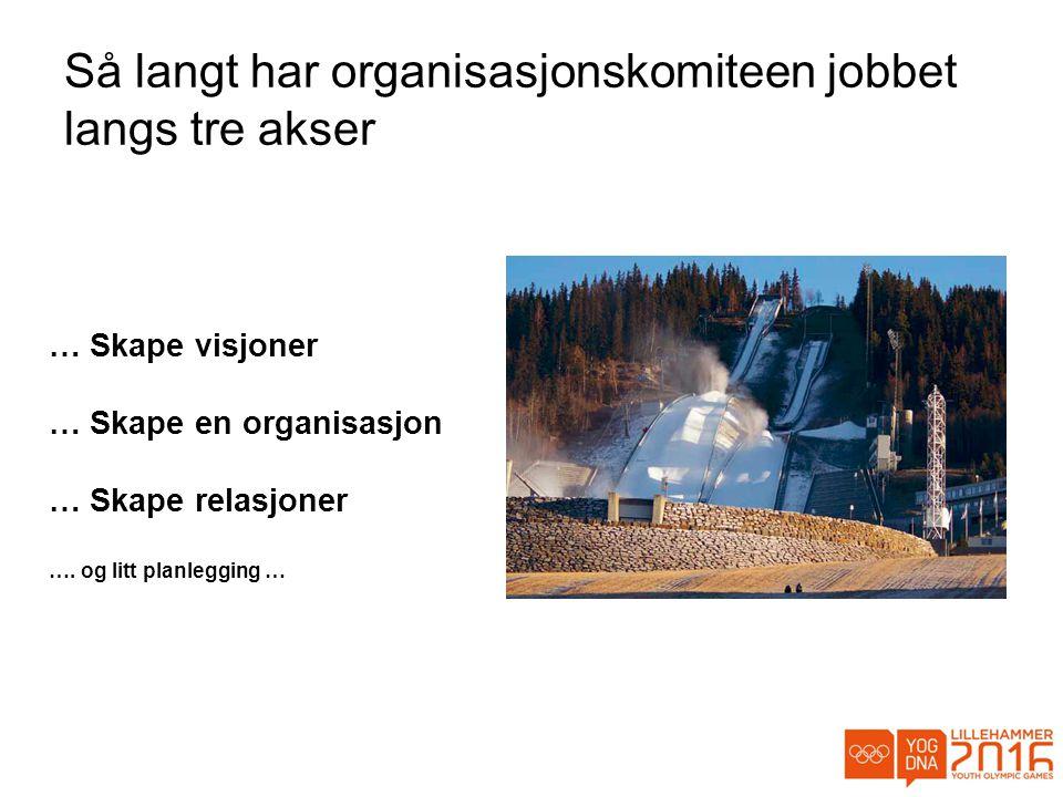 Så langt har organisasjonskomiteen jobbet langs tre akser … Skape visjoner … Skape en organisasjon … Skape relasjoner ….
