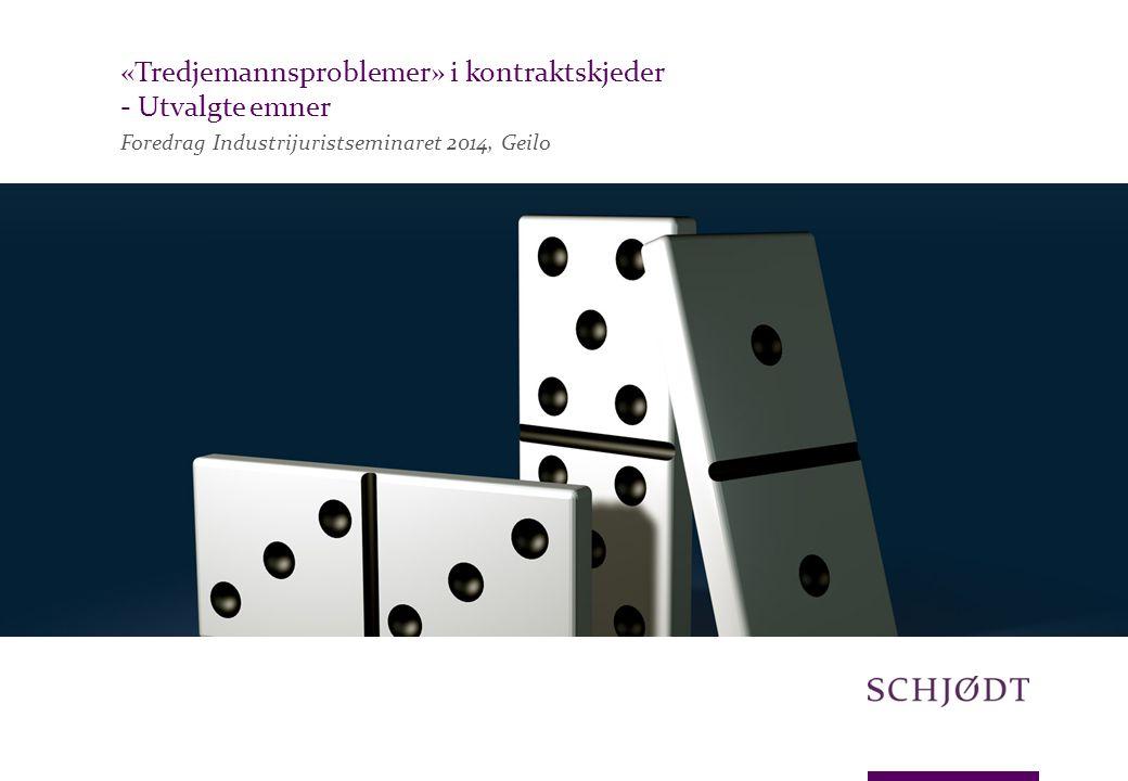 Foredrag Industrijuristseminaret 2014, Geilo «Tredjemannsproblemer» i kontraktskjeder - Utvalgte emner