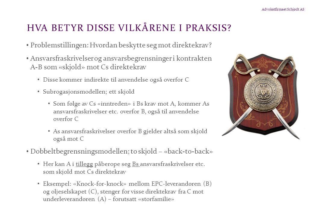 Advokatfirmaet Schjødt AS HVA BETYR DISSE VILKÅRENE I PRAKSIS.