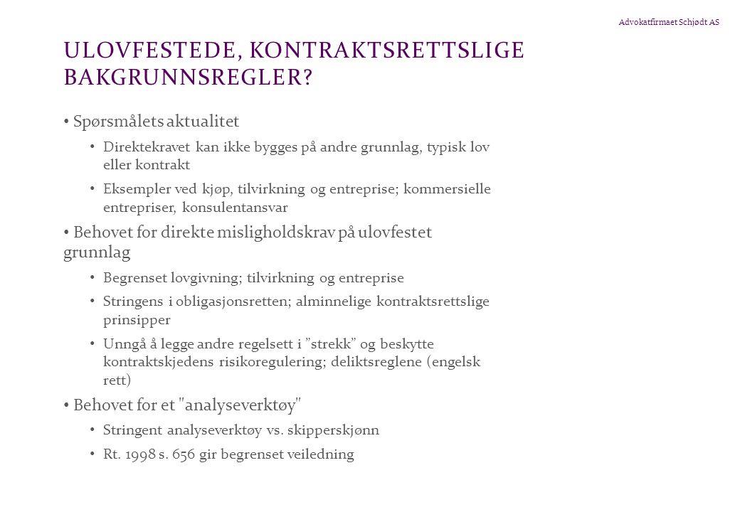 Advokatfirmaet Schjødt AS ULOVFESTEDE, KONTRAKTSRETTSLIGE BAKGRUNNSREGLER.