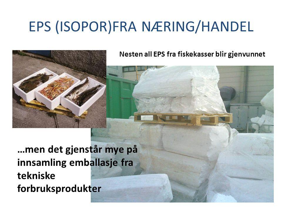 EPS (ISOPOR)FRA NÆRING/HANDEL Nesten all EPS fra fiskekasser blir gjenvunnet …men det gjenstår mye på innsamling emballasje fra tekniske forbruksprodu