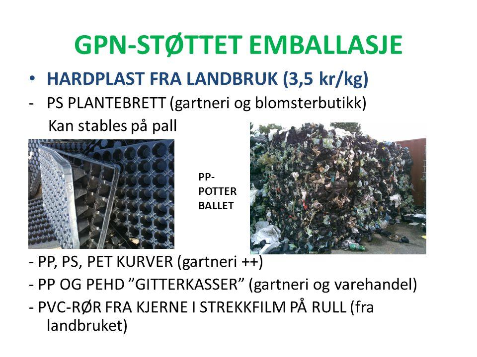 GPN-STØTTET EMBALLASJE • HARDPLAST FRA LANDBRUK (3,5 kr/kg) -PS PLANTEBRETT (gartneri og blomsterbutikk) Kan stables på pall - PP, PS, PET KURVER (gar