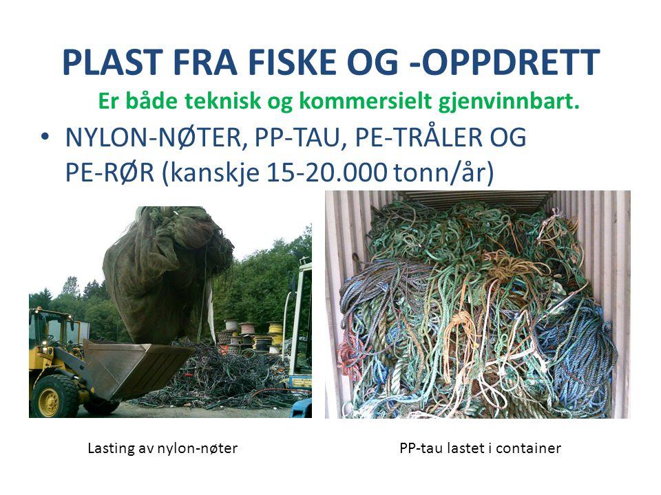 PLAST FRA FISKE OG -OPPDRETT • NYLON-NØTER, PP-TAU, PE-TRÅLER OG PE-RØR (kanskje 15-20.000 tonn/år) Lasting av nylon-nøterPP-tau lastet i container Er