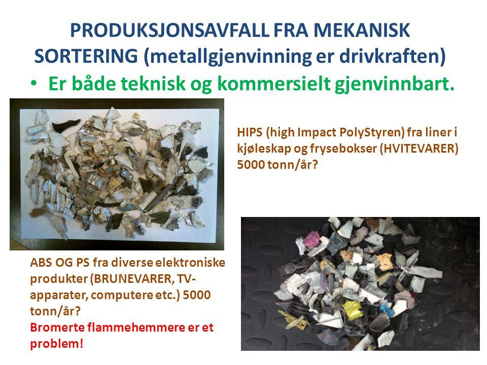 PRODUKSJONSAVFALL FRA MEKANISK SORTERING (metallgjenvinning er drivkraften) • Er både teknisk og kommersielt gjenvinnbart. HIPS (high Impact PolyStyre