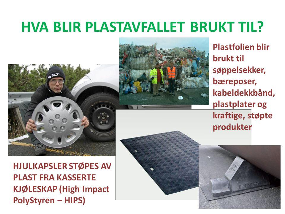 HVA BLIR PLASTAVFALLET BRUKT TIL? HJULKAPSLER STØPES AV PLAST FRA KASSERTE KJØLESKAP (High Impact PolyStyren – HIPS) Plastfolien blir brukt til søppel