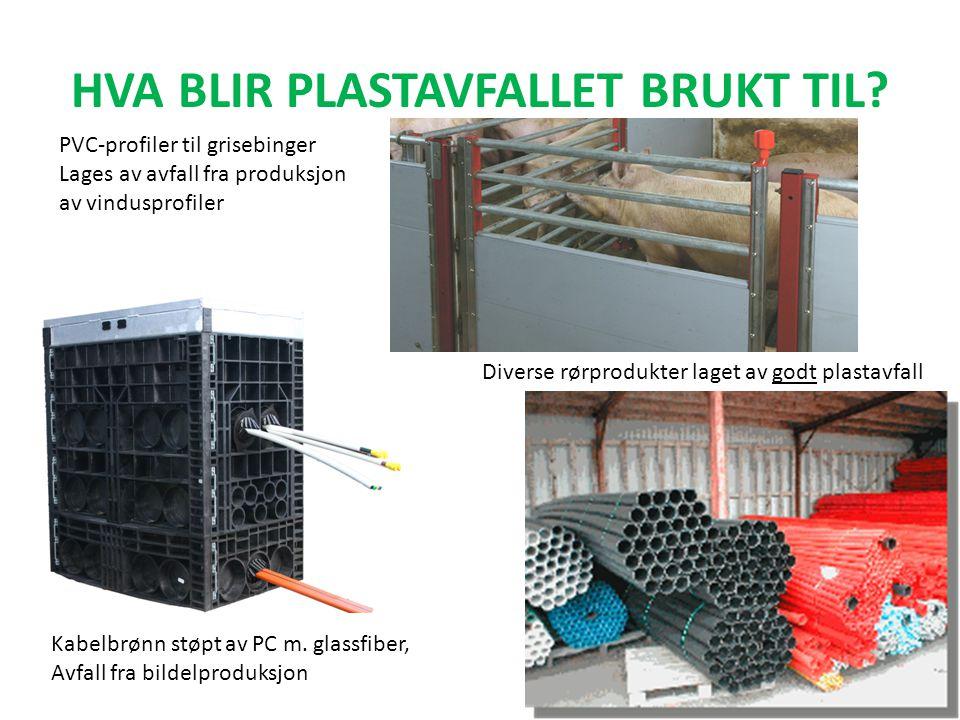 HVA BLIR PLASTAVFALLET BRUKT TIL? Kabelbrønn støpt av PC m. glassfiber, Avfall fra bildelproduksjon Diverse rørprodukter laget av godt plastavfall PVC