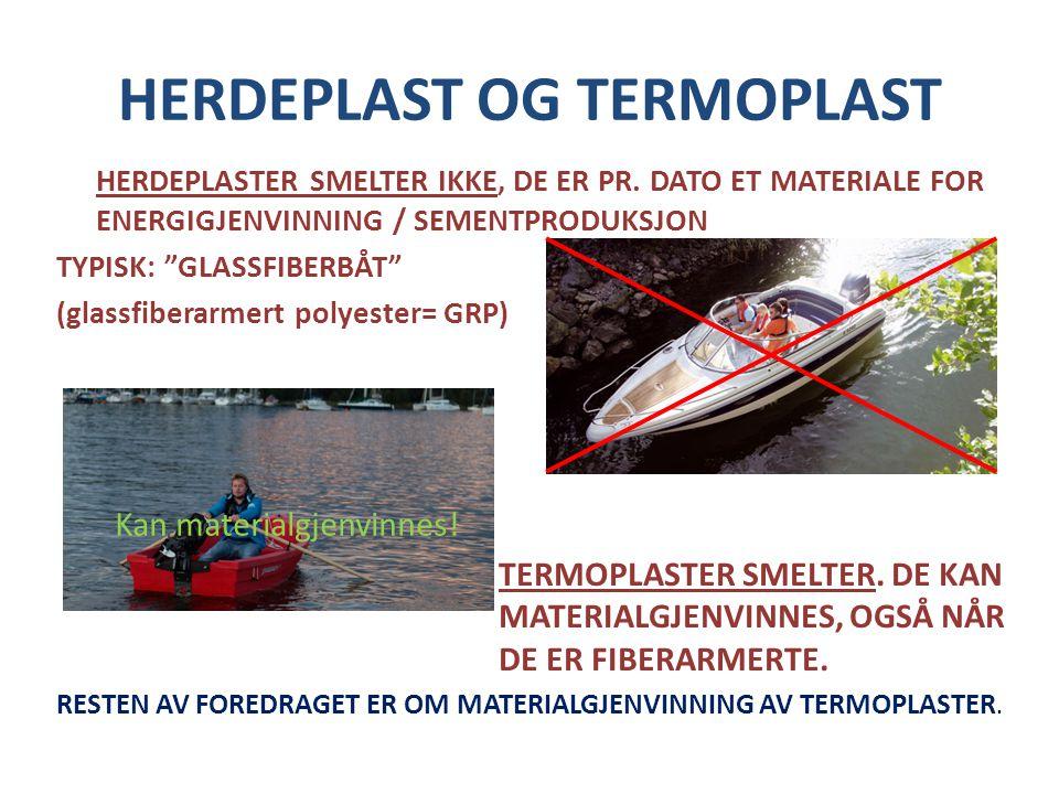"""HERDEPLAST OG TERMOPLAST HERDEPLASTER SMELTER IKKE, DE ER PR. DATO ET MATERIALE FOR ENERGIGJENVINNING / SEMENTPRODUKSJON TYPISK: """"GLASSFIBERBÅT"""" (glas"""