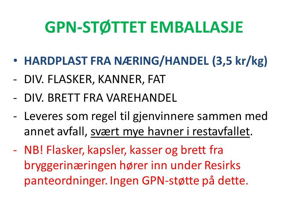 GPN-STØTTET EMBALLASJE • HARDPLAST FRA NÆRING/HANDEL (3,5 kr/kg) -DIV. FLASKER, KANNER, FAT -DIV. BRETT FRA VAREHANDEL -Leveres som regel til gjenvinn