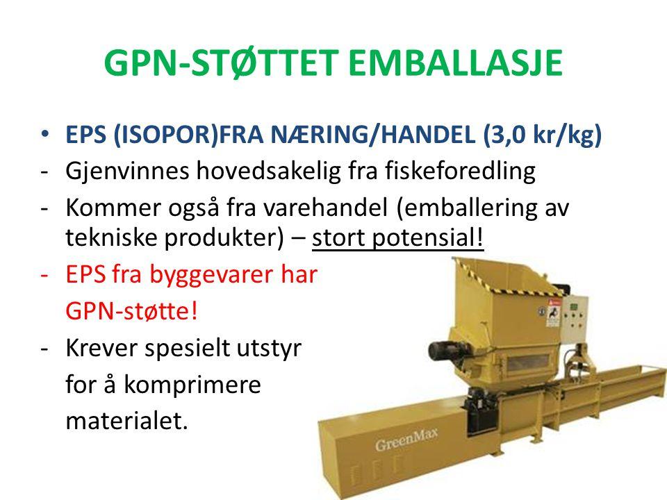 GPN-STØTTET EMBALLASJE • EPS (ISOPOR)FRA NÆRING/HANDEL (3,0 kr/kg) -Gjenvinnes hovedsakelig fra fiskeforedling -Kommer også fra varehandel (emballerin