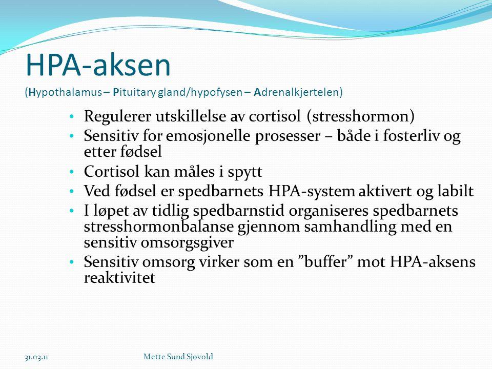 HPA-aksen (Hypothalamus – Pituitary gland/hypofysen – Adrenalkjertelen) • Regulerer utskillelse av cortisol (stresshormon) • Sensitiv for emosjonelle