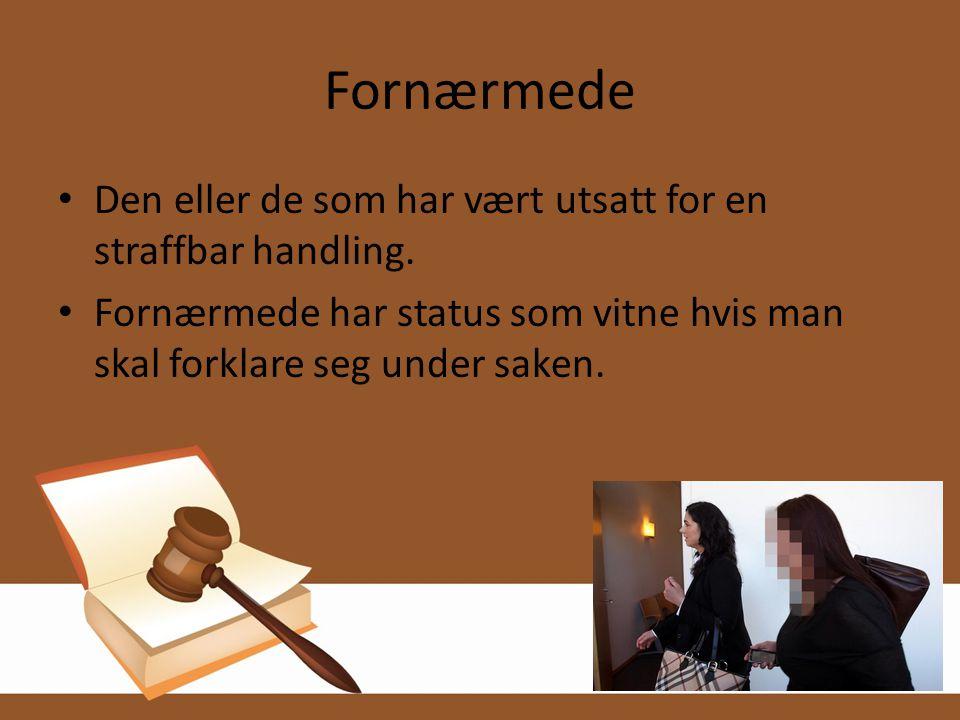 Fornærmede • Den eller de som har vært utsatt for en straffbar handling. • Fornærmede har status som vitne hvis man skal forklare seg under saken.