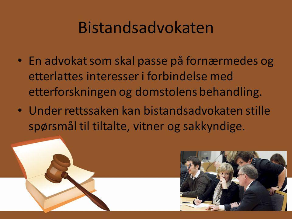 Bistandsadvokaten • En advokat som skal passe på fornærmedes og etterlattes interesser i forbindelse med etterforskningen og domstolens behandling. •