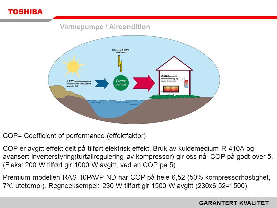 Varmepumpe / Aircondition GARANTERT KVALITET COP= Coefficient of performance (effektfaktor) COP er avgitt effekt delt på tilført elektrisk effekt.