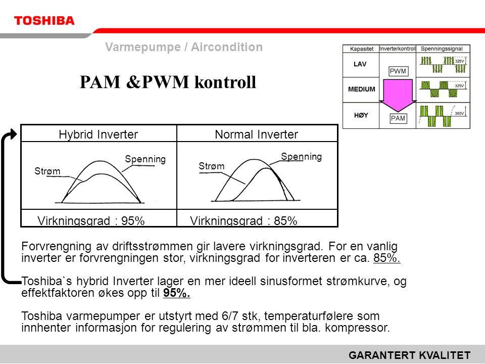 Varmepumpe / Aircondition GARANTERT KVALITET Forvrengning av driftsstrømmen gir lavere virkningsgrad. For en vanlig inverter er forvrengningen stor, v
