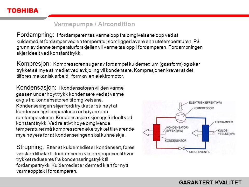 Varmepumpe / Aircondition GARANTERT KVALITET Fordampning: I fordamperen tas varme opp fra omgivelsene opp ved at kuldemediet fordamper ved en temperatur som ligger lavere enn utetemperaturen.